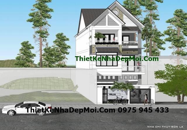 Góc view 4 mẫu biệt thự 1 trệt 2 lầu hiện đại 8x12 mái ngói chị Thúy Sơn La