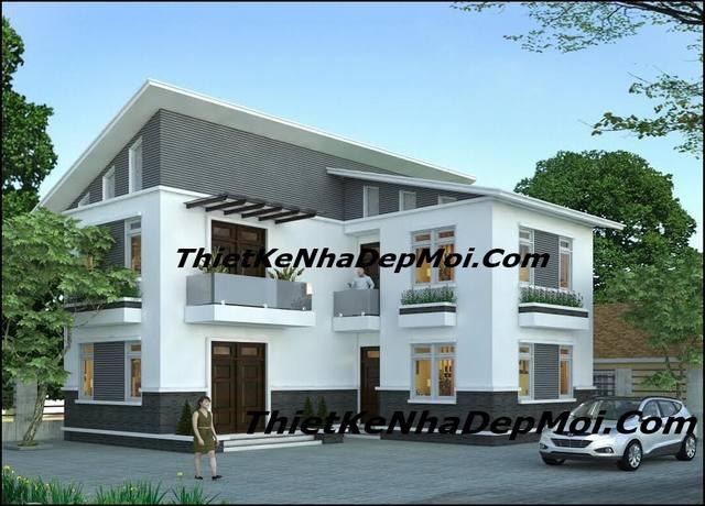 Nhà mái lệch hình chữ L 80m2