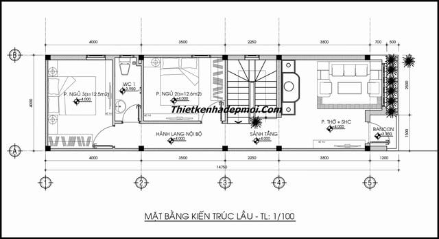 Thiết kế nhà phố 2 tầng mặt tiền 4m