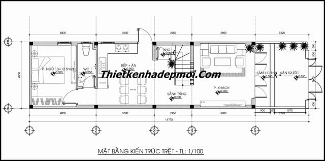 Bản vẽ thiết kế nhà 2 tầng 4x17