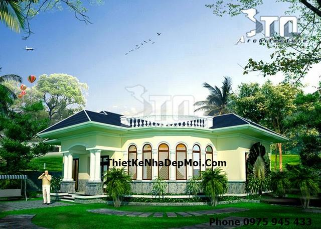 Mẫu thiết kế nhà vườn mái thái đẹp ở nông thôn Việt Nam kiến trúc Villa Trệt phong cách Châu Âu