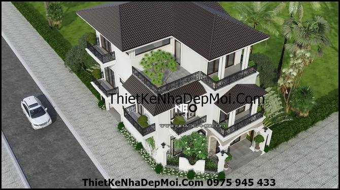 Phối cảnh 3D mẫu nhà biệt thự phố đẹp 3 tầng kiểu pháp theo đường chim bay