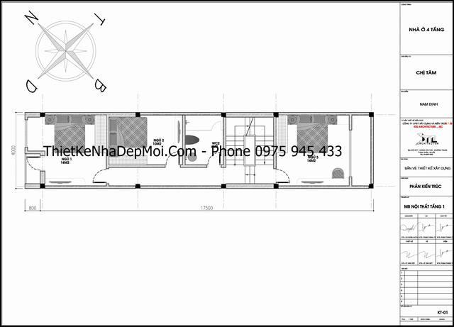 Bản vẽ thiết kế nhà 4x17 1 trệt 2 lầu 1 sân thượng