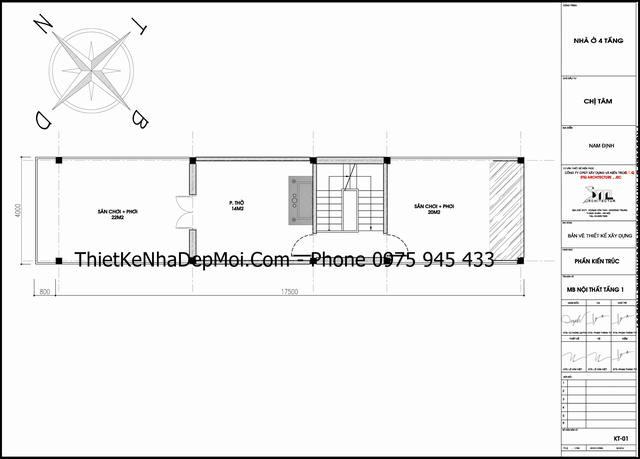 Thiết kế nhà diện tích 4x17 đẹp