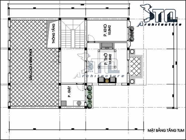 Bản vẽ biệt thự 3 tầng tân cổ điển 12x14m
