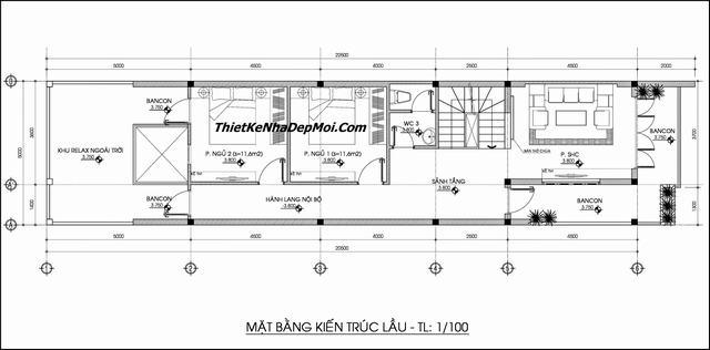 Bản vẽ nhà ngang 5m dài 20m