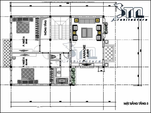 Thiết kế biệt thự 3 tầng 12x14m