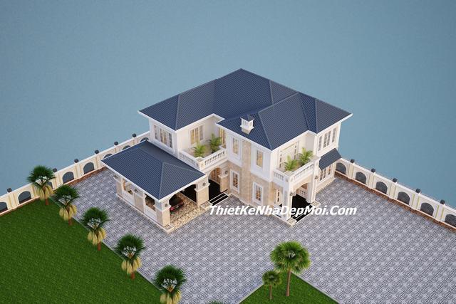 Kiến trúc biệt thự mái thái 1 trệt 1 lầu