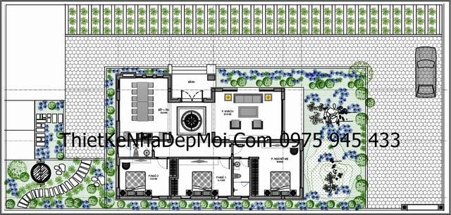Mặt bằng nhà cấp 4 mái thái thiết kế có 3 phòng ngủ rộng