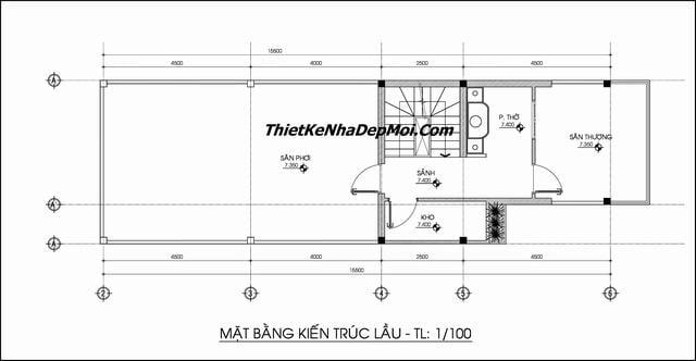 Mẫu thiết kế nhà ống 2 tầng 1 tum 5x20m