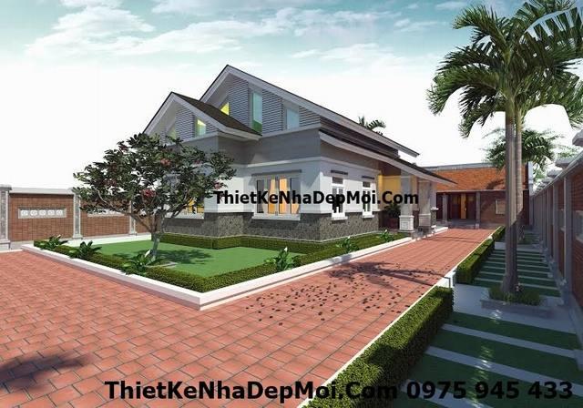 Mẫu nhà cấp 4 đơn giản mái thái đẹp thiết kế theo phong thủy tuổi Mậu Ngọ của chị Vui ở Sóc Sơn màu ngói xanh ghi Đông Triều