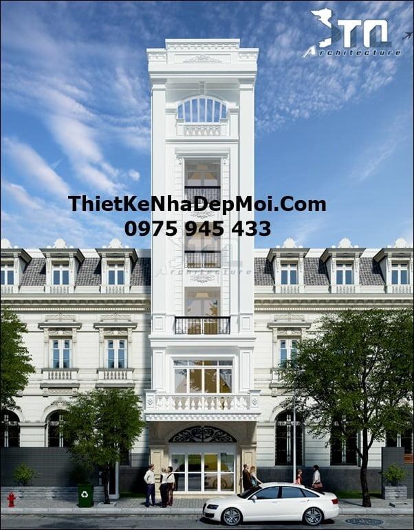 nhà phố 6 tầng, Bản vẽ thiết kế nhà 6 tầng tân cổ điển mặt tiền phố 4.5m anh Đô, Công ty thiết kế xây dựng Nhà Đẹp Mới, Công ty thiết kế xây dựng Nhà Đẹp Mới
