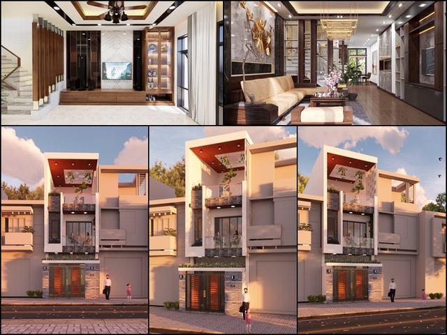 Thiết kế nhà 2 tầng mặt tiền 4.5m
