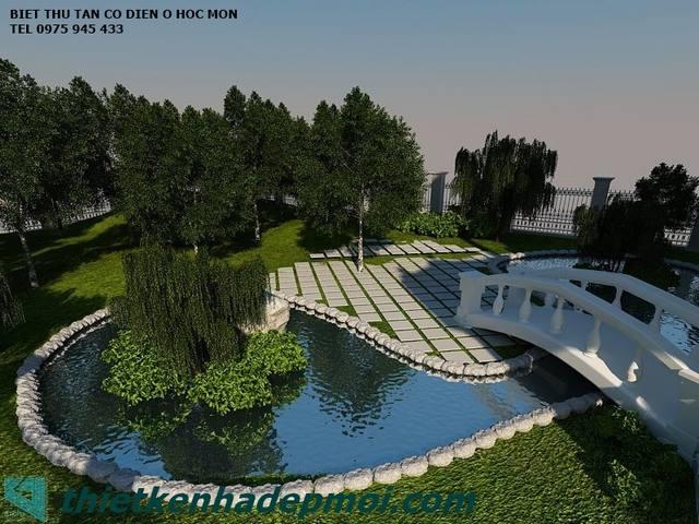 thiết kế sân vườn đẹp ở Hóc môn