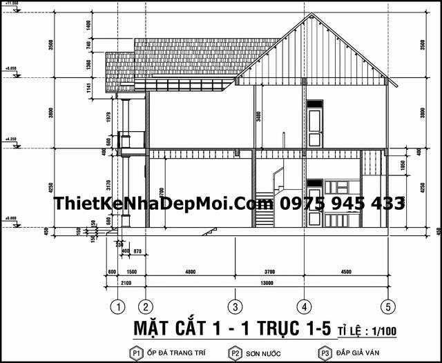 Bản vẽ nhà mái thái 1 trệt 1 lầu 8x15m