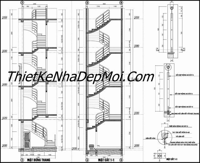 Bản vẽ chi tiết nhà ống 4 tầng ngang 3.5m dài 10m