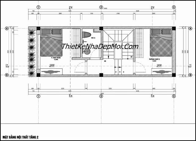 Bản vẽ xây nhà ống 4 tầng rộng 35m2