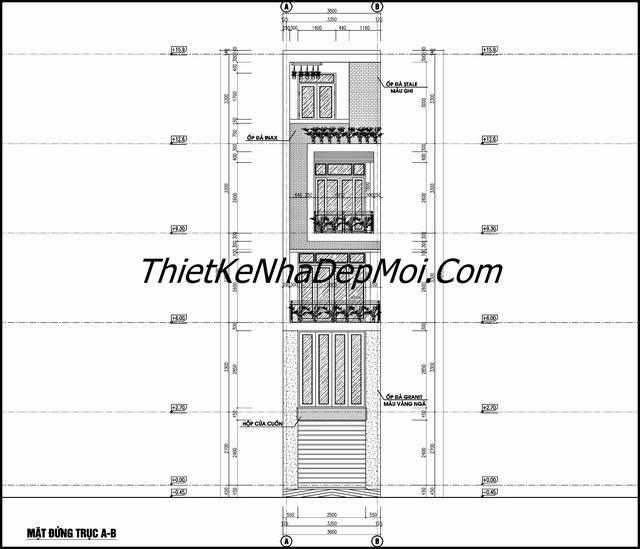 Bản vẽ nhà ống rộng 3.5m 4 tầng kinh doanh