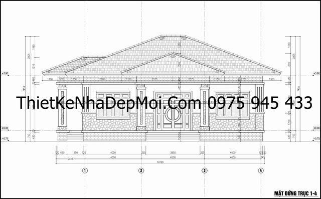 Bản vẽ nhà 1 tầng 3 gian 180m2