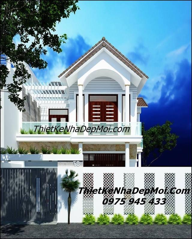mẫu thiết kế nhà 2 tầng 8x15 mái thái anh Quang