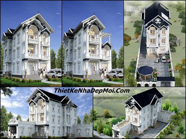 Mẫu nhà 3 tầng đẹp mái thái