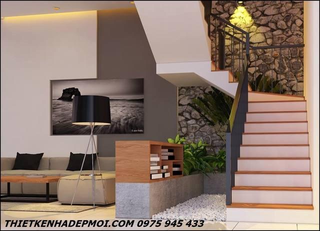 Cầu thang nhà ống hình chữ L 7x14 2 tầng