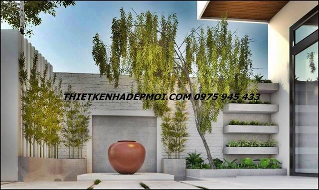 Thiết kế nhà phố 7m có sân vườn