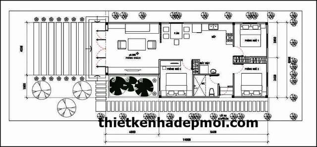 Mặt bằng nhà chữ L 80m2 3 phòng ngủ mái thái