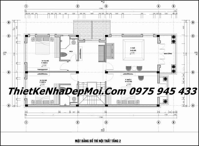 Bản vẽ nhà 2 tầng 9x17 4 phòng ngủ mái thái năm 2020
