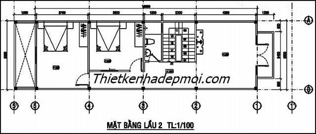 Bản vẽ xây nhà 3 tầng phong cách hiện đại
