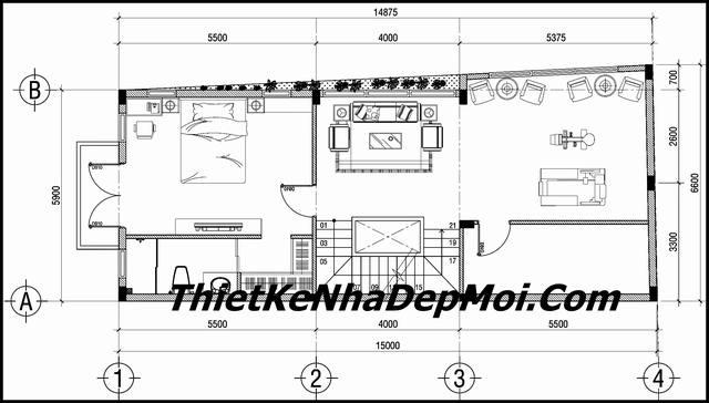 Bản vẽ nhà phố 3 tầng 2 mặt tiền mái thái