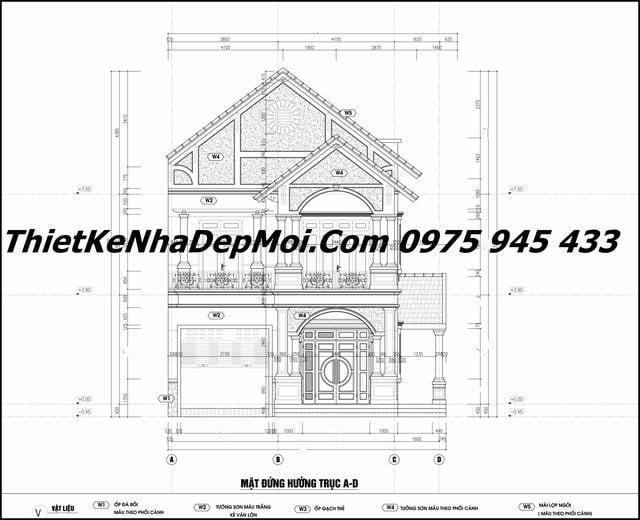 Bản vẽ chi tiết xây nhà 2 tầng 9x17 4 phòng ngủ