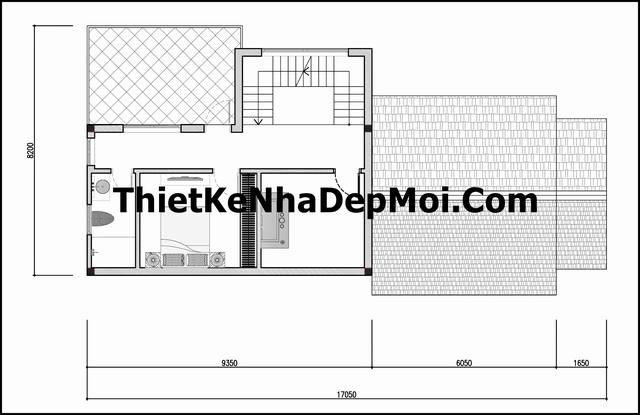 Bản vẽ thiết kế nhà ngang 8m 1 tầng