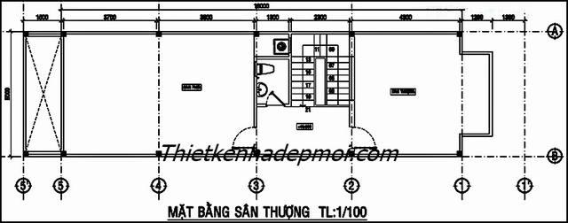 Bản vẽ nhà 5x16 3 tầng