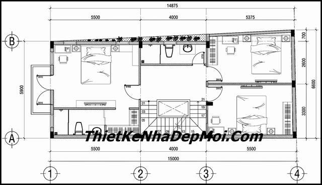 Thiết kế nhà nở hậu 6m