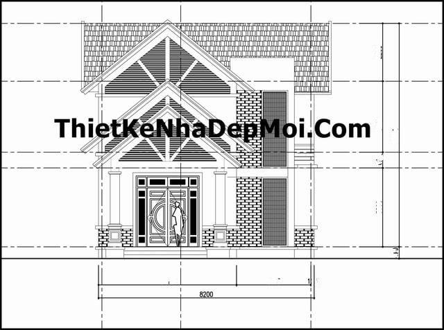 Bản vẽ kết cấu nhà cấp 4 có gác lửng mái thái