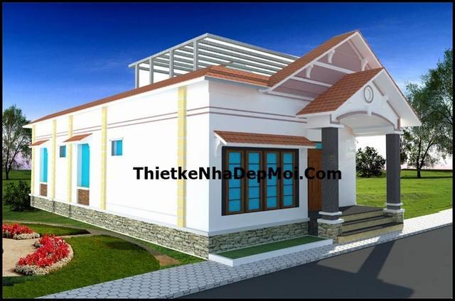 Nhà cấp 4 4 phòng ngủ mái thái 9x16m