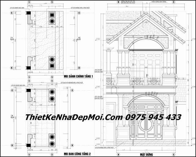 Bản vẽ thiết kế nhà 2 tầng mái thái nông thôn