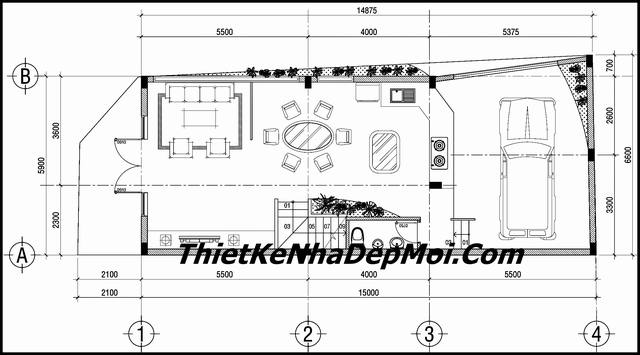 Bản vẽ sửa nhà phố mái thái 3 tầng 2 mặt tiền