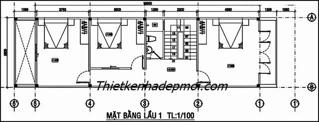 bản vẽ nhà 5x16 3 tầng 6 phòng ngủ