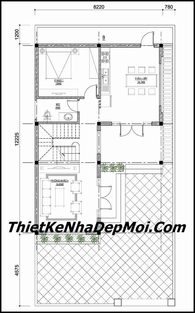 xây nhà 2 tầng 8x12