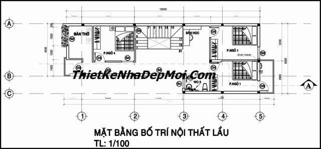 Bản vẽ thiết kế nhà cấp 4 2 tầng 4 phòng ngủ 6x17 hiện đại Đồng Nai