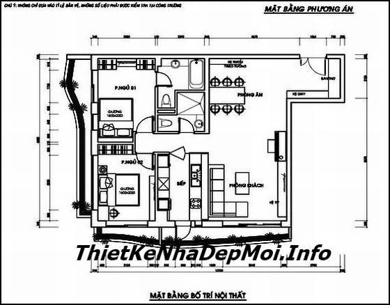 mặt bằng thiết kế nội thất căn hộ 110m2