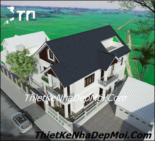 Nhà 2 tầng mái thái biệt thự đẹp mặt tiền 10m
