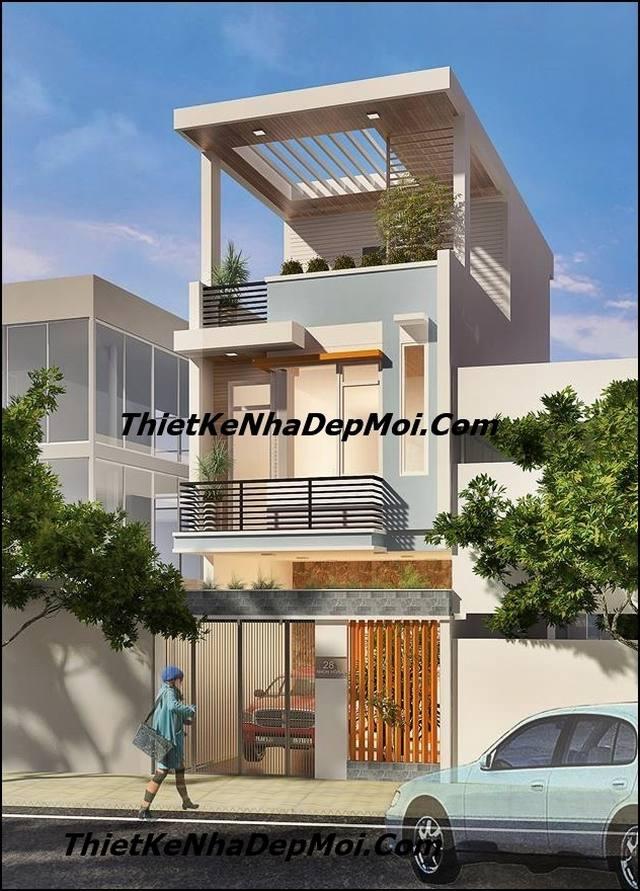 nhà 1 trệt 1 lầu 1 sân thượng 80m2 mái bằng