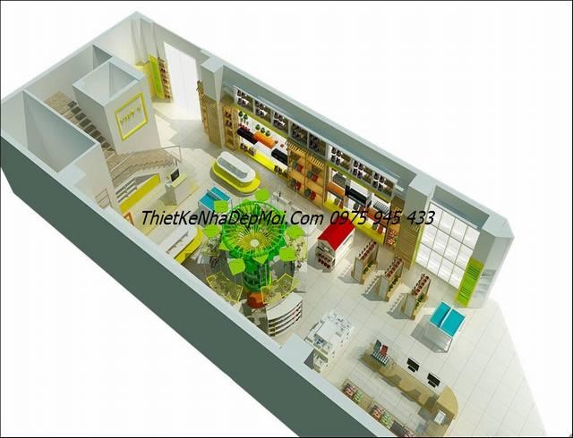 Bản vẽ thiết kế nhà sách 120m2 tầng 1