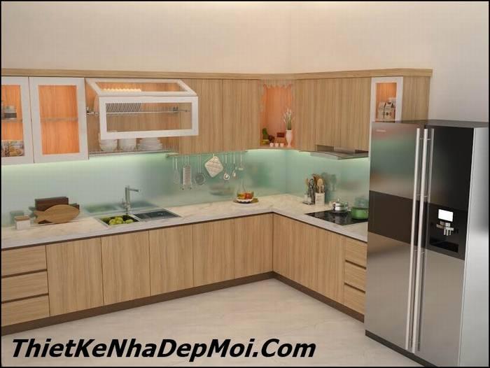 Nội thất phòng bếp nhà 1 tầng đơn giản chị Huyền thiết kế bằng gỗ Sồi