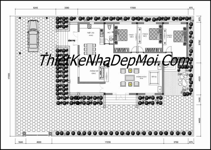 Mặt bằng tổng thể sơ bộ mẫu nhà vườn 1 tầng kiểu pháp mái thái đẹp chị Vẽ