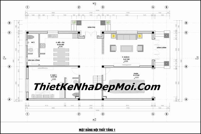 Thiết kế biệt thự 3 tầng mái thái 8x17