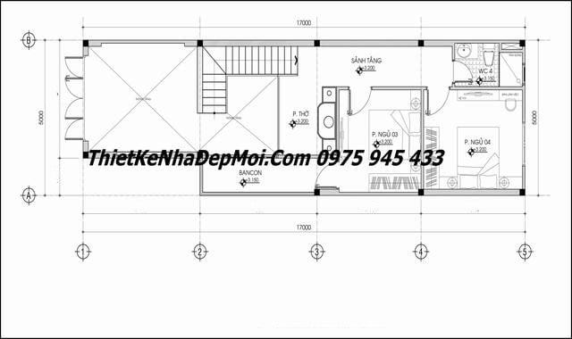 Bản vẽ mặt bằng nhà 5x20 có gác lửng 4 phòng ngủ